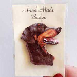 Handmade Badge Doberman Dog Brooch Pin Gift New